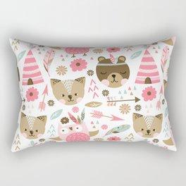 Pink Boho Animals Rectangular Pillow