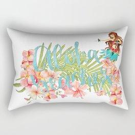Aloha- Alohabeaches with tropical flowers Palm leaf and Hula Girl Rectangular Pillow