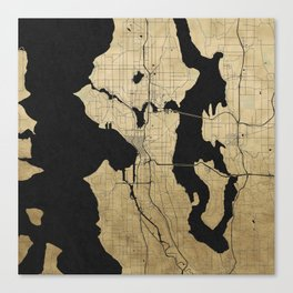 Seattle Black and Gold Street Map Canvas Print
