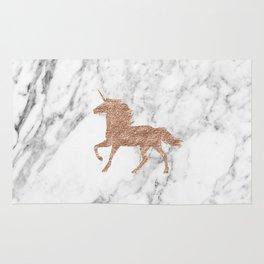 Rose gold unicorn on marble Rug