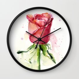 Rose Watercolor Red Flower Painting Floral Flowers Wall Clock