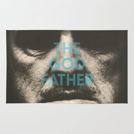 The Godfather, minimalist movie poster, Marlon Brando, Al Pacino, Francis Ford Coppola gangster film Rug