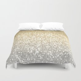 Gold and Silver Glitter Ombre Duvet Cover