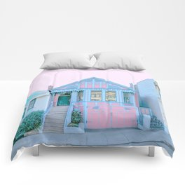 San Francisco Painted Lady Victorian House Comforters