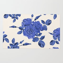 Seamless blue roses pattern Rug