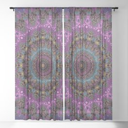 colorful fractal kaleidoscope Sheer Curtain