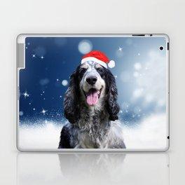 Cute Cocker Spaniel Dog Snow Stars Blue Christmas Laptop & iPad Skin