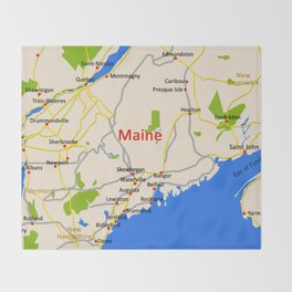 Map of Maine state, USA Throw Blanket