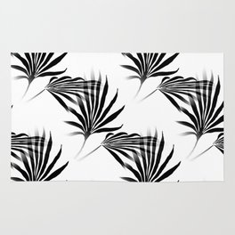 Palmetto Fronds Leaf Pattern Black and White Rug