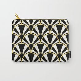 Black, White and Gold Classic Art Deco Fan Pattern Carry-All Pouch
