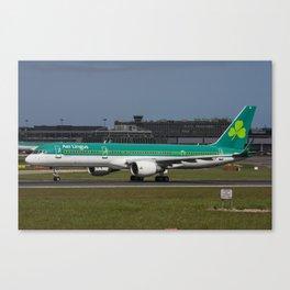 Aer Lingus Boeing 757 EI-LBT departing on the inaugural dublin to toronto flight Canvas Print