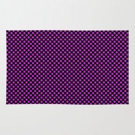 Black and Dazzling Violet Polka Dots Rug