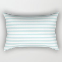 Duck Egg Pale Aqua Blue and White Wide Thin Horizontal Deck Chair Stripe Rectangular Pillow
