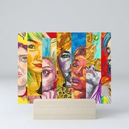 Female Faces Portrait Collage Design 1 Mini Art Print
