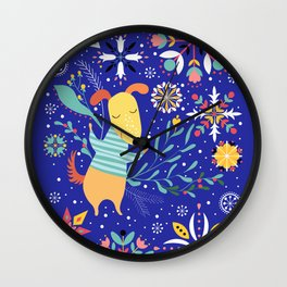 Happy Dog Year Wall Clock