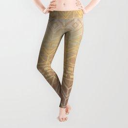 Neutral Tan & Gold Tribal Ikat Pattern Leggings