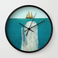 black Wall Clocks featuring The Whale  by Terry Fan