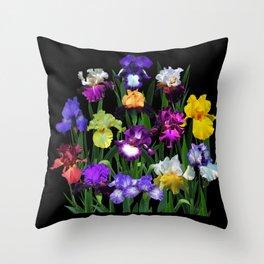 Iris Garden - on black Throw Pillow