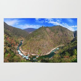 River going down the mountain (landscape) Rug