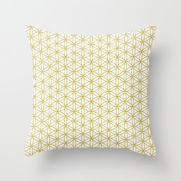 Flower of Life Pattern – Gold & White Throw Pillow