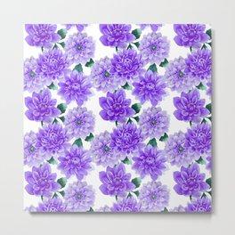Artistic hand painted purple violet watercolor floral Metal Print