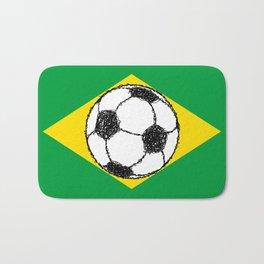 Brazil Flag Football Sketch Bath Mat