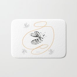 Crazy Bee drawing illustration for kds Bath Mat