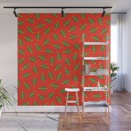 Cactus Christmas Tree in Red Wall Mural
