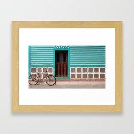 green lines door Framed Art Print