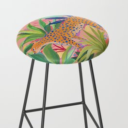 Leopard in Succulent Garden Bar Stool