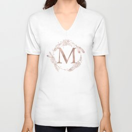 Letter M Rose Gold Pink Initial Monogram Unisex V-Neck