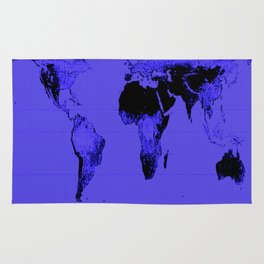 World Map: Gall Peters Indigo Purple Rug