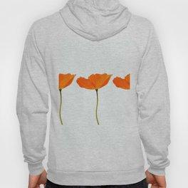 Three Orange Poppy Flowers White Background #decor #society6 #buyart Hoody