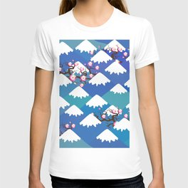 Spring Nature background with Japanese cherry blossoms, sakura pink flowers landscape. blue mountain T-shirt