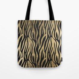 Modern elegant black faux gold trendy zebra animal print Tote Bag