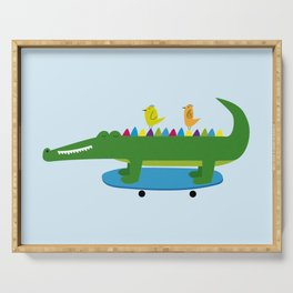 Crocodile and skateboard Serving Tray