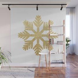 Gold Glitter Snowflake Wall Mural