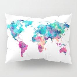 World Map Turquoise Pink Blue Green Pillow Sham