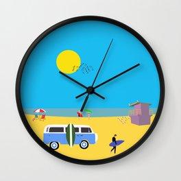 Surfer beach Wall Clock