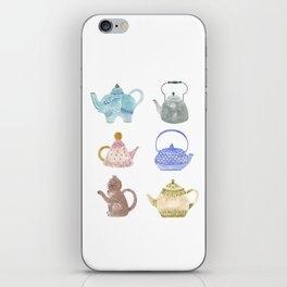 Waterclor Teapot Collection iPhone Skin