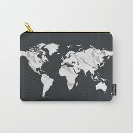 Marble World Map in Black and White Carry-All Pouch