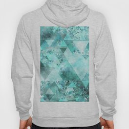 Triangles in aqua - Modern turquoise green blue triangle pattern Hoody