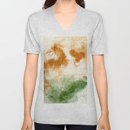 Ejaaz Haniff Abstract Acrylic Palette Knife Painting Olive Green Yellow Ochre: 'Sunny Valley Clouds' Unisex V-Neck