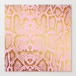 Pink and Gold Snakeskin Print Canvas Print