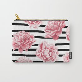 Simply Drawn Stripes and Roses Carry-All Pouch