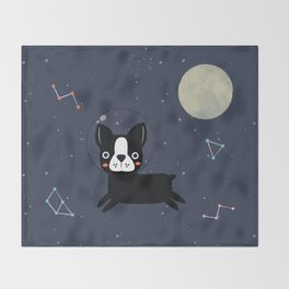 Boston Terrier In Space Throw Blanket