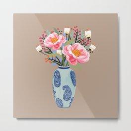 Vase illustration, flower, floral, blossom print Metal Print