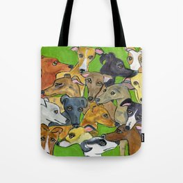 Greyhounds on green Tote Bag
