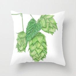 Beer Hop Flowers Throw Pillow