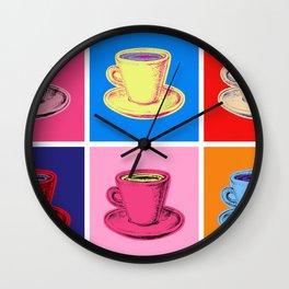 Coffee Mugs Pop Art Style Wall Clock